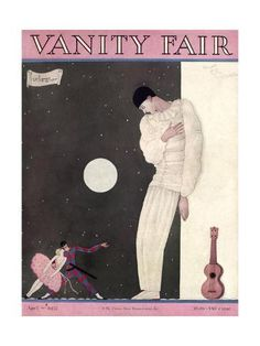 Premium Giclee Print: Vanity Fair Cover - April 1927 Art Print by Georges Lepape by Georges Lepape : Vanity Fair Magazine, Magazine Art, Magazine Covers, Art Deco Illustration, Illustrations, Old Magazines, Vintage Magazines, Pierrot Clown, Vintage Vogue Covers