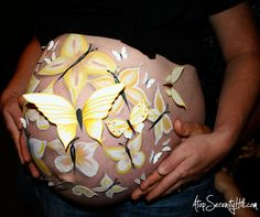 Butterfly prenatal <b>belly painting</b> • AtopSerenityHill #bellybump # ...