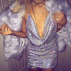 $59.99 Sexy Celeb Backless Deep-V Halter Split Sequin Party Dress
