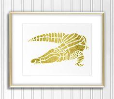 Gold Foil Crocodile Printable Digital Download  by CobraPrints