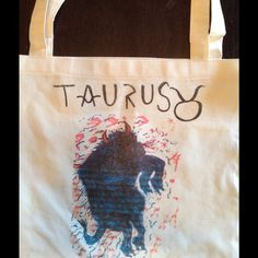 """American a Apparel TAURUS tote bag!! HEY what's your sign? Hand drawn , screèned on American Apparel 17.5 x18"""" 50/50 cotton poly tote bag.rest of the signs on the way!! American Apparel Bags Totes"""