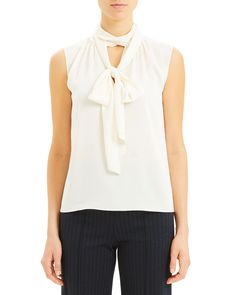 THEORY SCARF TIE SLEEVELESS STRETCH SILK BLOUSE. #theory #cloth