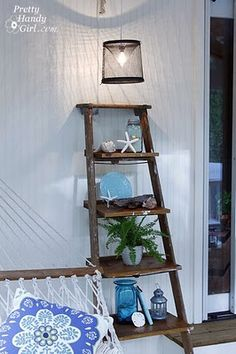 "Amazing DIY ladder shelf project on a super cool blog I found called ""Pretty Handy Girl"". I haven't explored too much yet, but this was too neat to pass up posting."