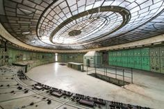 French photographer Romain Veillon, has spent the last two years exploring abandoned facilities in Europe. One striking set takes us into the century-old control room of Budapest's Kelenföld Power Plant. Abandoned Buildings, Abandoned Places, Abandoned Homes, Arte Art Deco, French Photographers, Urban Exploration, Art Deco Design, Belle Photo, Beautiful Places