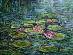 lilies on pond | My Oil and Acrylic Paintings
