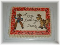 Cowboy themed cake - All buttercream cake with chocolate transfer figures.