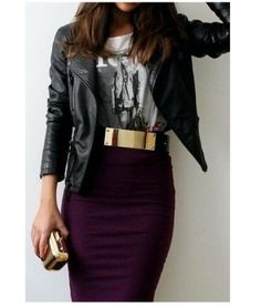 Pencil Skirt + Leather