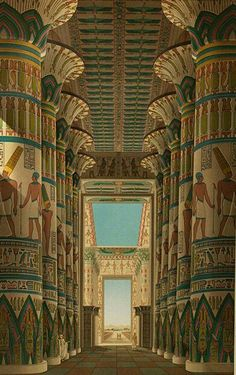 Reconstruction Egyptian Temple At Karnak Kosab  C2 B7 Recreation Images Architectural Illustrations Floor Plans Of Ancient Egypt