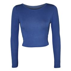 Jeane Long Sleeve Crop Top (690 RUB) ❤ liked on Polyvore featuring tops, shirts, royal blue, long sleeve crop top, crop shirt, shirt tops, long sleeve tops and blue shirt