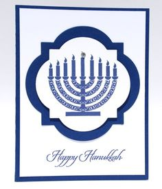 The menorah is a classic symbol in the Jewish tradition that Hanukkah (Chanukah) is being celebrated. This handcrafted Happy Hanukkah greeting card conveys the celebration in a clean and simple manne Hanukkah Greeting, Hanukkah Cards, Hanukkah Decorations, Christmas Hanukkah, Holiday Greeting Cards, Christmas 2017, Hanukkah Traditions, Jewish Celebrations, Jewish Greetings