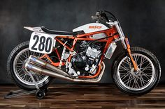 It's 2017 and I find myself in a dilemma involvinglack of time and money. Questioning how we would buildour next custom as well as a new bike to race in the American Flat Track series, a decision was made to kill two birds with one stone. Why not build a custom worthy of the race track and a race bike worthy of being a custom piece of two-wheel art? Why not, indeed!, http://www.pipeburn.com/home/2017/04/09/no-280-kawasaki-ninja-650r-flat-tracker-rat-river-cycle-fab.html