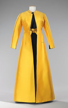 """Evening Ensemble, Madame Grès (Alix Barton) (French, Paris 1903–1993 Var region): 1968, French, silk. """"Madame Alix Grès' career spanned five decades and throughout them all she excelled in her ability to manipulate fabric and use its innate characteristics to enhance her designs. Known for her classically inspired draped and pleated silk jersey gowns, here she takes advantage of the heft of silk gabardine to create volume and dimensionality. She uses the eye-catching contrast of bright…"""