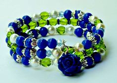 Floral Beaded Memory Wire Bracelet, Blue Green Tea Blue Flower Bracelet, Mothers Birthday Gift, Thank You Bridesmaid, Bridal Jewelry by Willows3Creations on Etsy