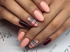 Paznokcie na Jesień – Top 24 Modne Inspiracje na Jesienne Paznokcie, Które Musicie Poznać! Nude Nails, Matte Nails, Coffin Nails, My Nails, Plaid Nail Art, Plaid Nails, Perfect Nails, Gorgeous Nails, Burberry Nails