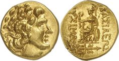 Kingdom of Pontos, Mithradates VI Eupator (c 120-63 BC), Gold Stater, 8.34g, 12h. Mint of Kallatis, struck c 89-72 BC in the name and types of Lysimachos of Thrace. Head of Alexander the Great (with features of Mithradates) facing right, wearing diadem & horn of Ammon. Rev. BAΣIΛEΩΣ ΛYΣIMAXOY, Athena seated left, holding Nike in her outstretched right hand and resting her left elbow on a shield at her side, behind her rests spear, monogram left, KAΛ below throne, trident with dolphins in…