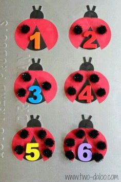 Adorable DIY Magnetic Ladybug Counting Game - with Pom-Pom Spots - for Preschool Learning - at B-Inspired Mama Numbers Preschool, Learning Numbers, Preschool Learning, In Kindergarten, Toddler Activities, Preschool Activities, Fun Learning, Activities For Kids, Space Activities