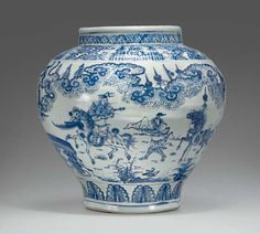A large blue and white jar, guan, Ming dynasty, century. Christie's Fine Chinese Ceramics & Works of Art New York Blue And White China, Blue China, Japanese Porcelain, White Porcelain, Turning Japanese, Chinese Ceramics, Ancient China, 15th Century, Chinese Art