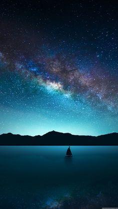 Blue earth milky way ocean sailboat sea sky starry sky stars wallpaper. Beautiful Sky, Beautiful Landscapes, Beautiful World, Beautiful Places, Pretty Sky, Beautiful Wallpaper, Perfect Wallpaper, Star Wallpaper, Wallpaper Backgrounds