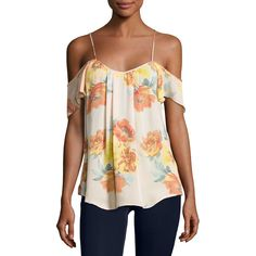 Joie Adorlee Cold-Shoulder Floral-Print Silk Top ($188) ❤ liked on Polyvore featuring tops, orange pattern, women's apparel tops, floral tops, pink top, pink pullover, sweetheart neckline tops and silk top