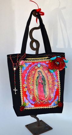 Lady of  Guadalupe Black Canvas Tote With by OliviabyDesign, $22.00 #tote bag #virgen de guadalupe