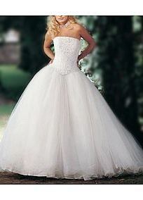Lovely Tulle Strapless Ballgown Wedding Dress