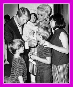 "Actor Mickey Hargitay is obviously enjoying his reunion with his former wife, actress Jayne Mansfield, and their children, backstage at the Westbury  Music Fair, where Miss Mansfield opened in Gentlemen Prefer Blondes. Hargitay flew in from Rome to be with his former wife, who was separated form her present husband, producer Matt Cimber………For more classic pictures of the 60's, 70's and 80's please visit and ""LIKE"" my Facebook page at…"