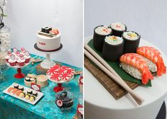 Japanese Party Cake & Table Set Up: too cute! Dessert Buffet, Candy Buffet, Dessert Bars, Japanese Party, Japanese Sushi, Japanese Style, Sushi Cake, Sushi Party, Japanese Deserts