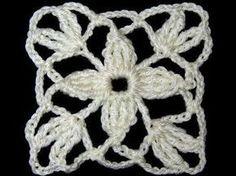 Crochet : Motivo Cuadrado con Flor de 4 petalos - YouTube