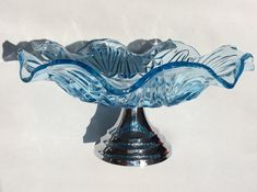 Art Deco, Cake Stand, Cakestand, Cake Plate. Blue Pressed Glass Plate on Chrome Stand. Wedding Table. Vintage Glass Cake Stand. 1930s