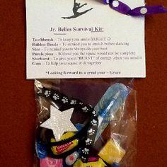 Jen, Brooke and Steph--- Team gift ideas Dance Team Gifts, Cheer Gifts, Cheer Dance, Dance Comp, Dance Recital, Dance Survival Kit, Survival Kits, Dance Crafts, Spirit Gifts