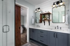 Mid-sized farmhouse master gray floor bathroom idea in Portland with shaker cabinets, gray cabinets, an undermount sink, engineered quartz countertops and white walls — Houzz Farmhouse Bathroom Accessories, Farmhouse Bathroom Sink, Modern Farmhouse Bedroom, Modern Farmhouse Kitchens, Modern Bathroom, Master Bathroom, Rustic Farmhouse, Bathroom Gray, Grey Bathrooms
