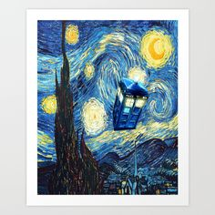 Soaring Tardis doctor who starry night oil painting  framed art print #fall #autumn #christmas, #abstract #tardis #doctorwho #starrynight #vangogh #screamingman #flying #phonebooth
