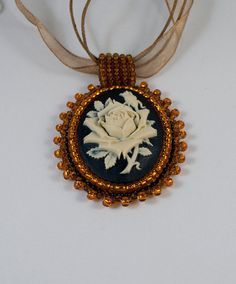 Bead embroidery Cameo pendant  whit a  rose by driadalv on Etsy, $38.00