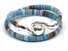 teal ethnic bracelet, multicolor woven bracelet, boho wrap bracelet, beach jewelry, magnetic clasp, anniversary gifts for women by CozyDetailz on Etsy