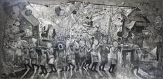 Singkupadong Kubo (syncopated Hut) , Don Salubayba, Mixed media on canvas, 200 x 414 cm, 2012 | Courtesy of Tin-aw Art Gallery / Fatima Avila