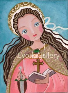 St. Catherine, Print  Of Original Art ,Mix Media, Folk Art, Wall Decore by Evona. $15.00, via Etsy.