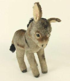 22 cm. Grissy the donkey stuffed animal, West Germany, 1963-68, by Steiff.