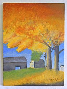 Canvas US Artist Acrylic Landscape Paintings Cubist Paintings, Art Paintings For Sale, Landscape Paintings, Orange Painting, Naive, Worlds Largest, Folk Art, Barn, Farmhouse