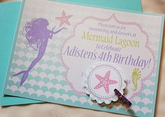 Ombre Mermaid Birthday Party InvitationsPrintable InvitationsParty PrintablesBirthday InvitationsInvitesFree PrintablesMermaid Under