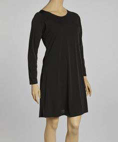 Look at this #zulilyfind! Black Scoop Neck Shift Dress - Plus #zulilyfinds--sized to 3XXX price at $27.00 a little black dress that you can dress up or dress down