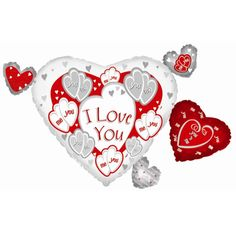 Helium Filled I Love You Heart Cluster Foil Balloon