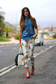 Denim On Denim Basic Outfits, Casual Outfits, Cute Outfits, Floral Pants Outfit, Street Style 2014, Estilo Denim, Denim Fashion, Womens Fashion, Estilo Blogger