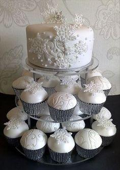 Snowflake Cake and Cupcakes