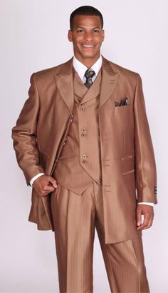 Mens Brown Shiny Vested Church Suit.The fabric is a shiny light brown sharkskin with a subtle herringbone pattern in the weave.