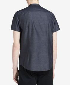 Calvin Klein Men's Classic-Fit Band-Collar Shirt - Black 2XL