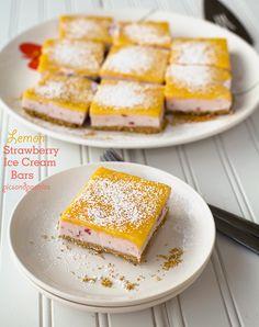 Lemon Strawberry Ice Cream Bars