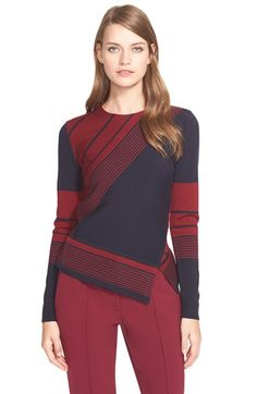 Tory Burch Stripe Asymmetrical Peplum Merino Sweater available at #Nordstrom