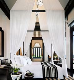 best black & white  #bedroom décor, beds, headboards, four poster, canopy, tufted, wooden, classical, contemporary bedroom, nightstand, walls, flooring, rugs, lamps, ceiling, window treatments, murals, art, lighting, mattress, bed linens, home décor, #interiordesign bedspreads, platform beds, leather, wooden beds, sofabed