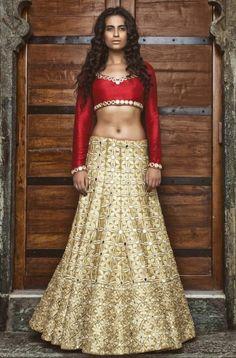 Stunning Mayyur Girotra Gold Kutch Mirror Work #Lehenga With Red #Blouse.