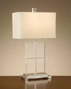 """28""""H Lucite Cubed Table Lamp Shade: 16"""" X 16"""" X 10"""" Off White One-Way, S-Socket, 60 Watt Max, Type A Bulb Also Available With California Wiring"""